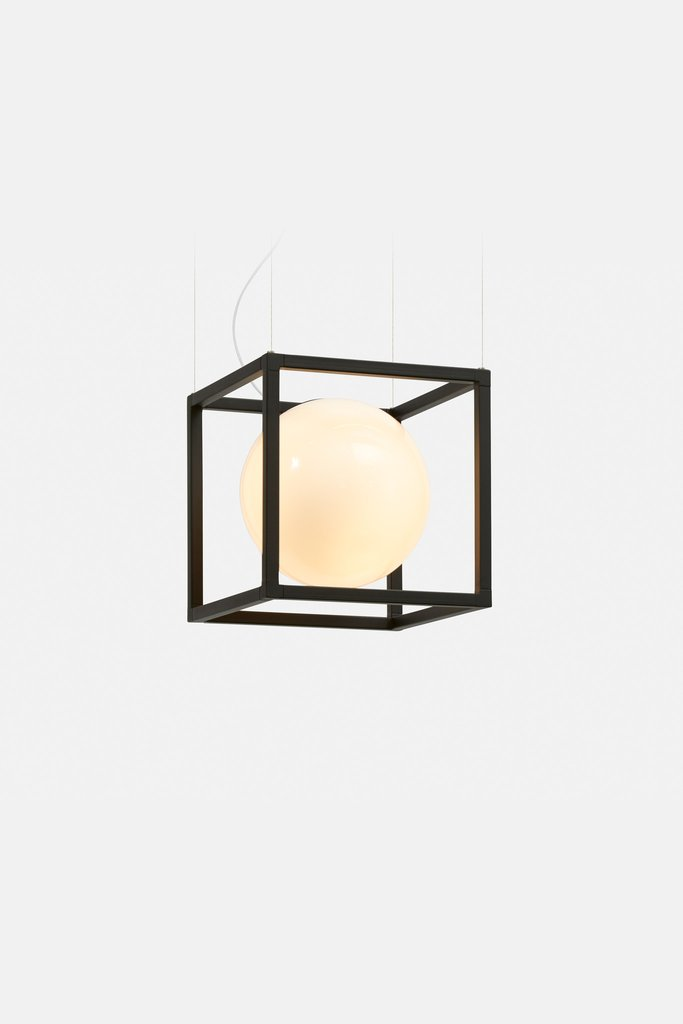 This is Witt 1, available in brass and matte black finishes, looks like a sphere in a cage, very modern