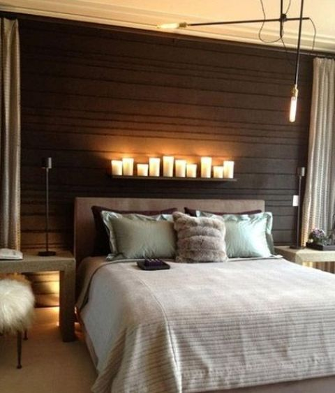 Small LED lamps and pillar candles on the shelf above the bed6 Tips And 33 Ideas To Design A Romantic Bedroom   DigsDigs. Romantic Bedroom Candles. Home Design Ideas