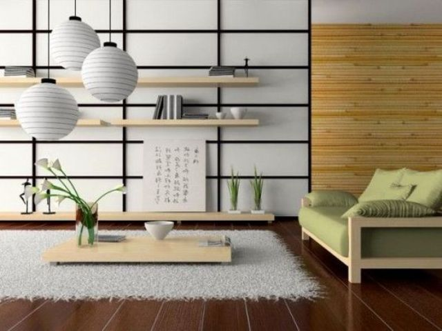 this modern Japanese living room is done in cream and light green with  light woods