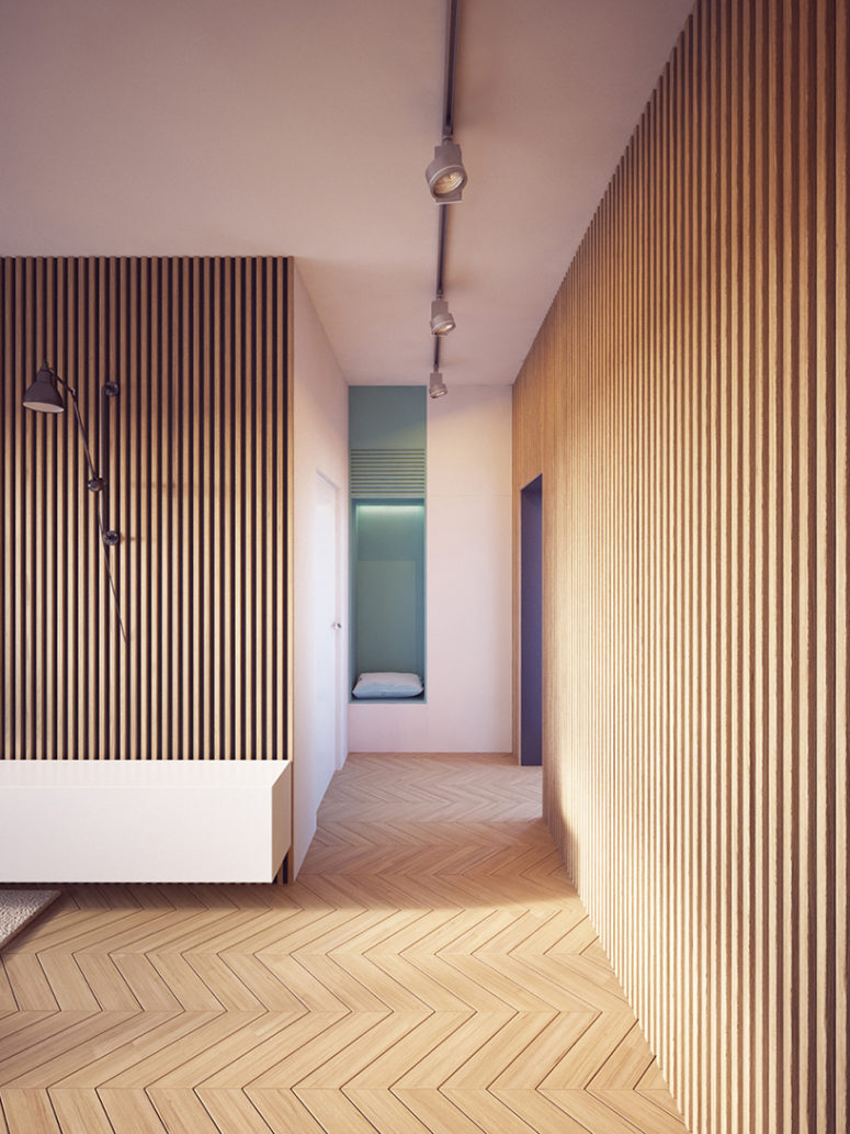 Wood Paneled Room Design: Modern Apartment With Two Zones And Amazing Wood Paneling