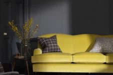 03 graphite living room with a sunny yellow sofa for an accent