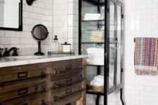 03 rustic and industrial bathroom decor with white subway tiles