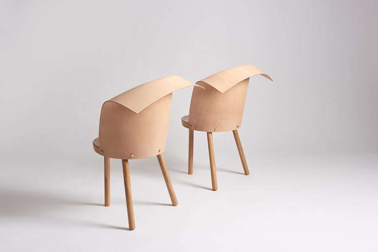 Clop brings together leather and wood in a unique fashion, these chairs are higher than Babu