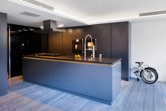 The kitchen features dark grey cabinets and stainless steel appliances, it's laconic and functional, a bit moody