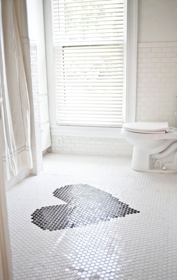Crisp And Clean White Bathroom Redo With Subway Tiles A Heart On The Penny Tile