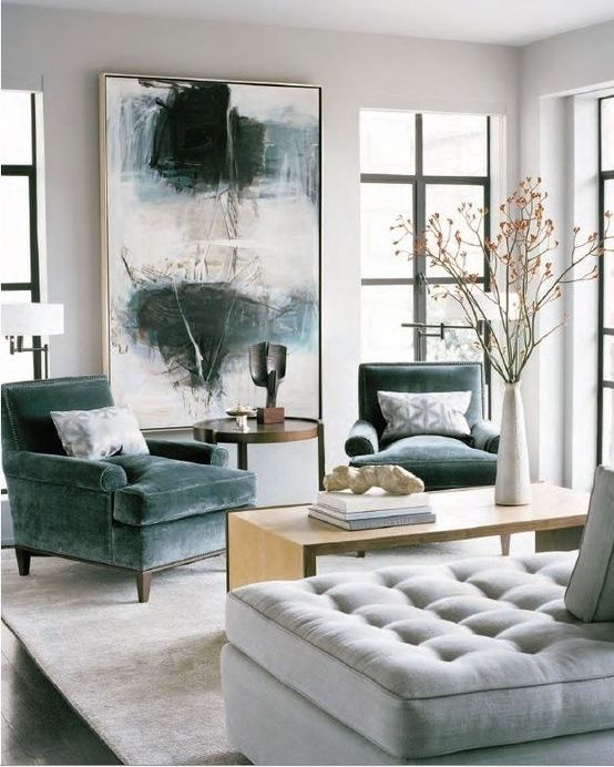 Dove Grey And Neutrals Living Room With Rich Dark Green Accents