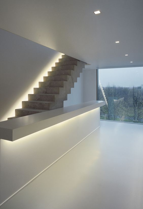 Invisible Lighting Makes This Stairscase Special And Gives Style To The Room