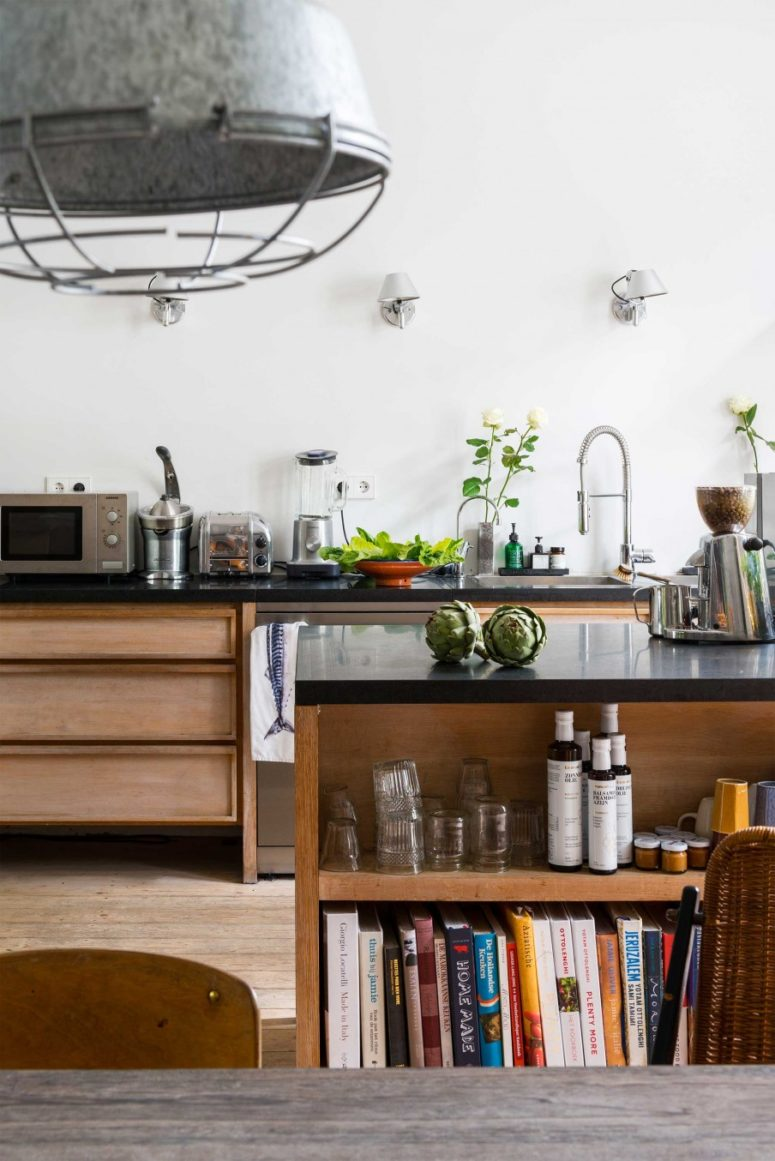 Eclectic home with industrial and shabby chic touches for Kitchen cabinets not wood