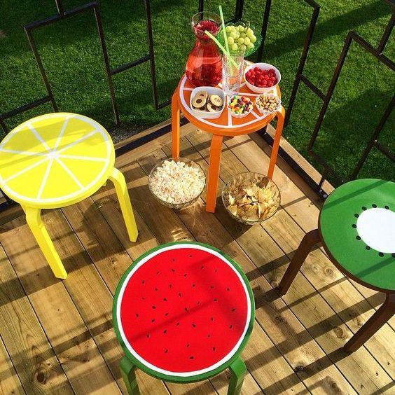 cheerful fruit hacks for Frosta stools are ideal for the summer parties