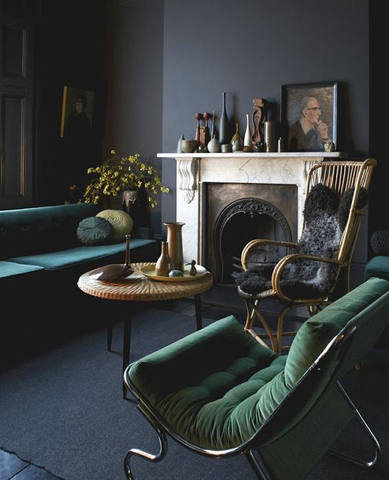 dark and moody grey room with grass green and emerald touches for a