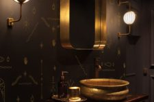 05 dark wood cabinet, black patterned walls and brass decorations
