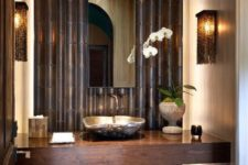 05 darker bathroom style with black bamboo decor, dark woods and hidden lights
