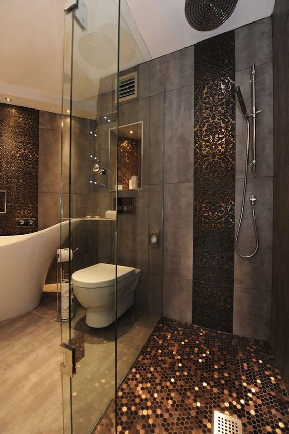metallic copper shower floor looks absolutely gorgeous and refined