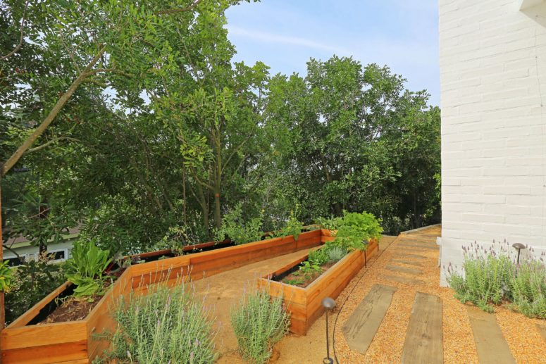 This is one of outdoor spaces decorated in mid-century modern style