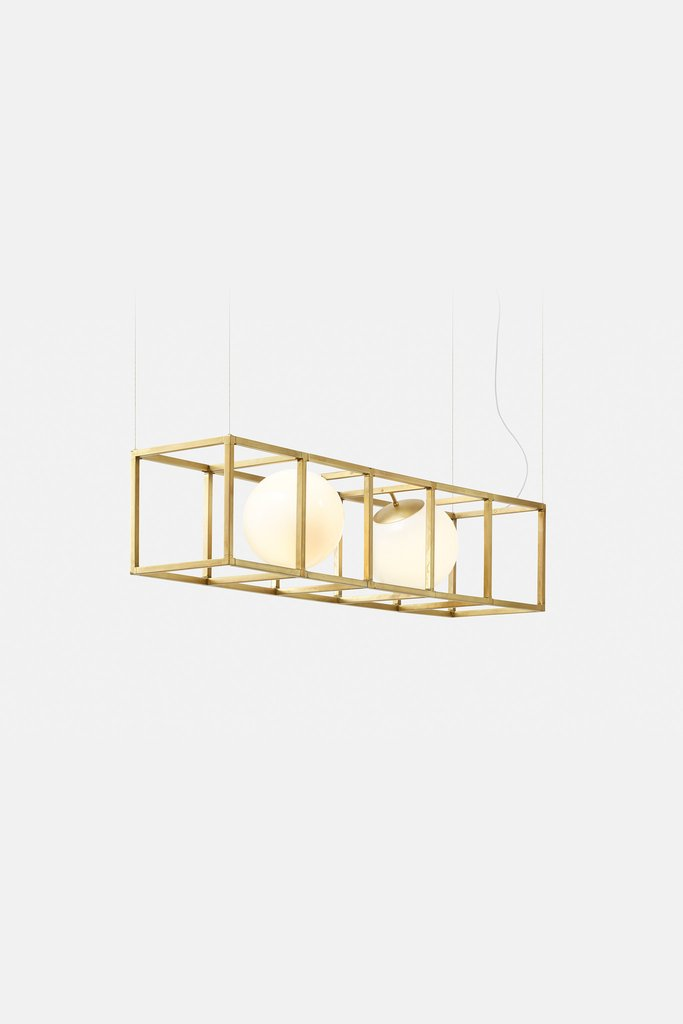 Witt 4 is also a modern chandelier available in brass and the cube is different, it has more sides and two spheres