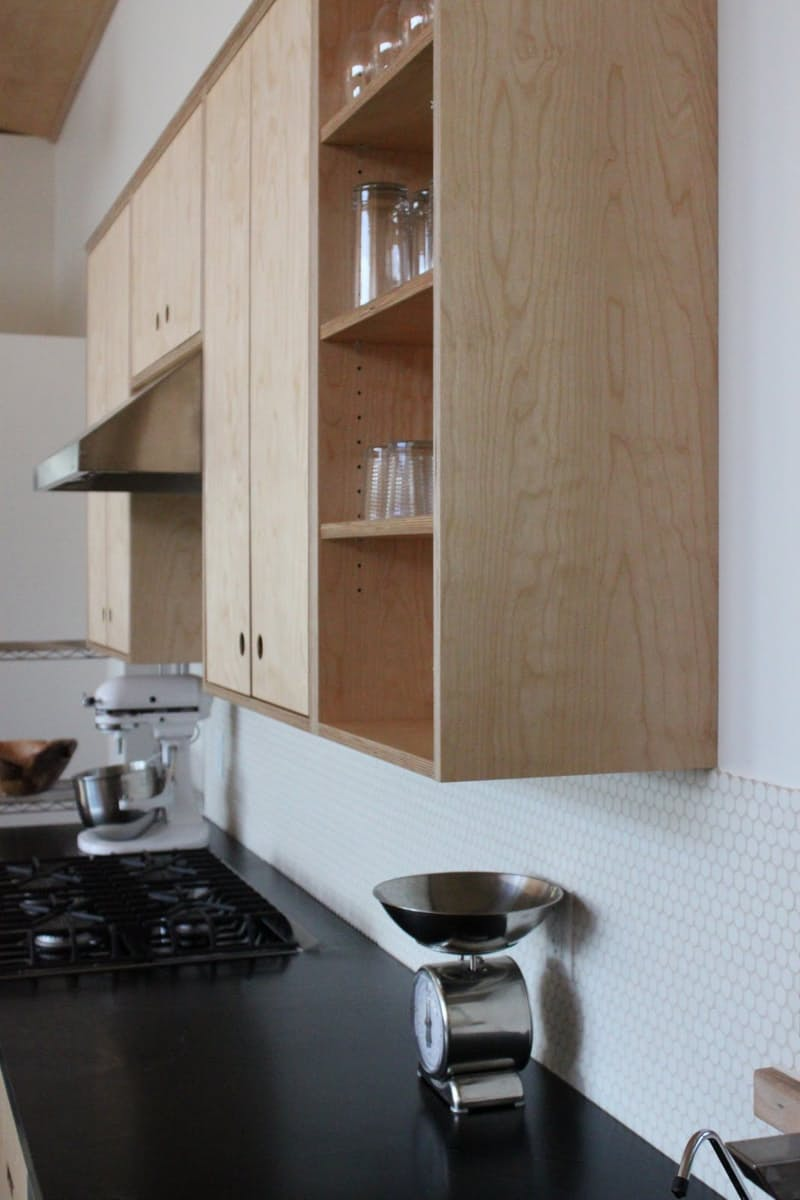 a white on white tile backsplash looks especially nice with blonde cabinets