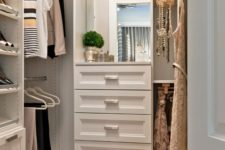 06 large wardrobe with racks and shoe shelves, drawers and a small mirror