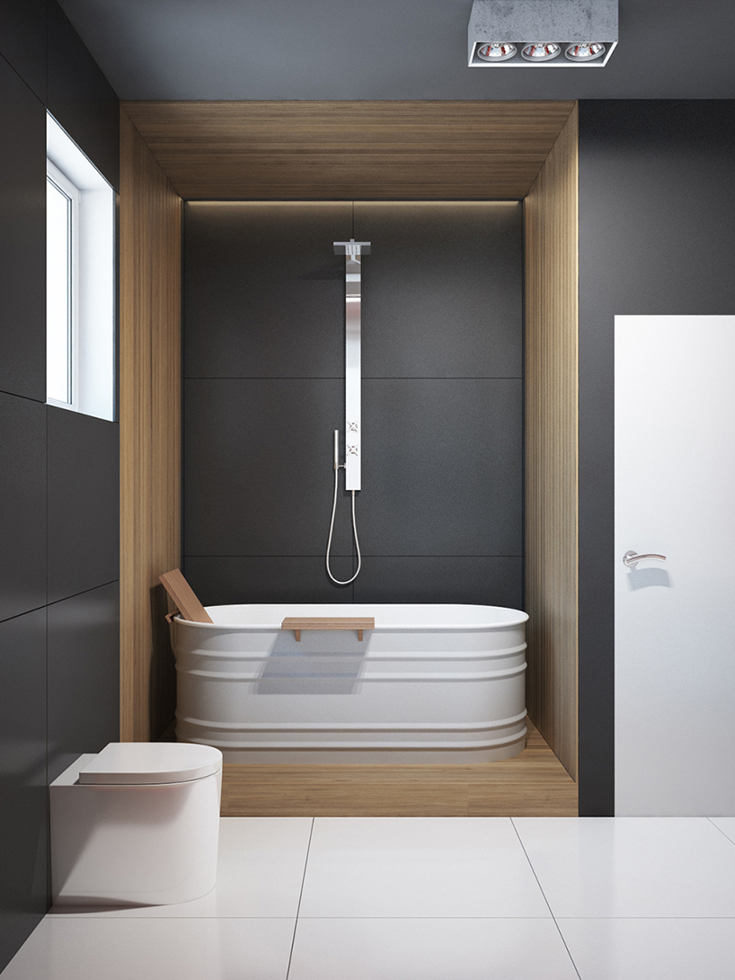 the bathroom is decorated in dark grey with addition of light wood