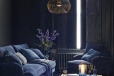 06 vintage sitting room with indigo furniture and traditional shutters