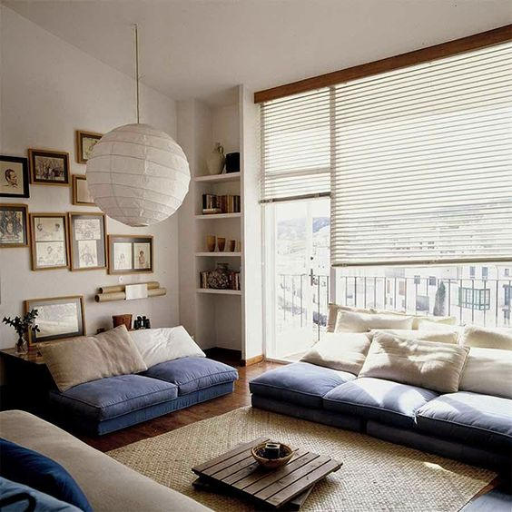 Light Living Room In Cream With Blue Accents