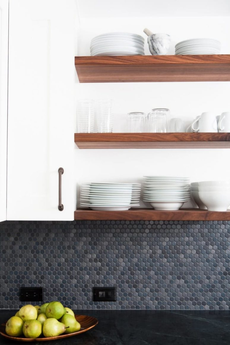 penny tiles in various shades of grey for a moody kitchen