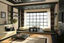 08 Japanese-inspired space in dark grey and cream with lots of wood used
