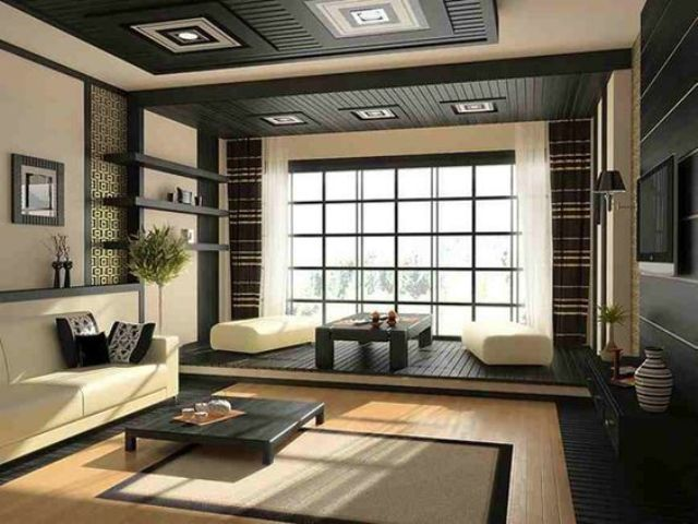 Japanese-inspired space in dark grey and cream with lots of wood used