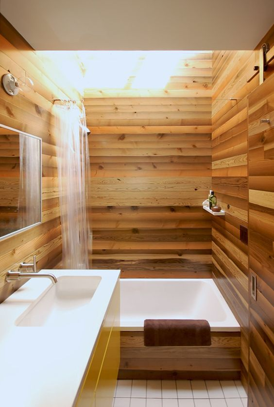 Wonderful Small Japanese Bathroom With Light Warm Wood All Over To Make It Look  Refined