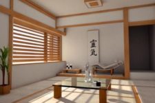 09 minimalist Japanese interior and a window covered with bamboo shades
