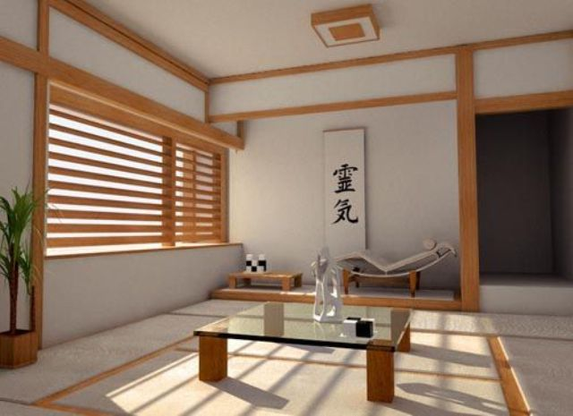 minimalist Japanese interior and a window covered with bamboo shades