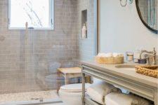 09 modern bathroom with grey subway tiles highlighting the shower
