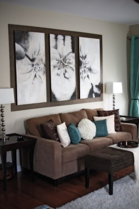 Attractive Peaceful Brown Living Room With Turquoise Pillows And Draperies
