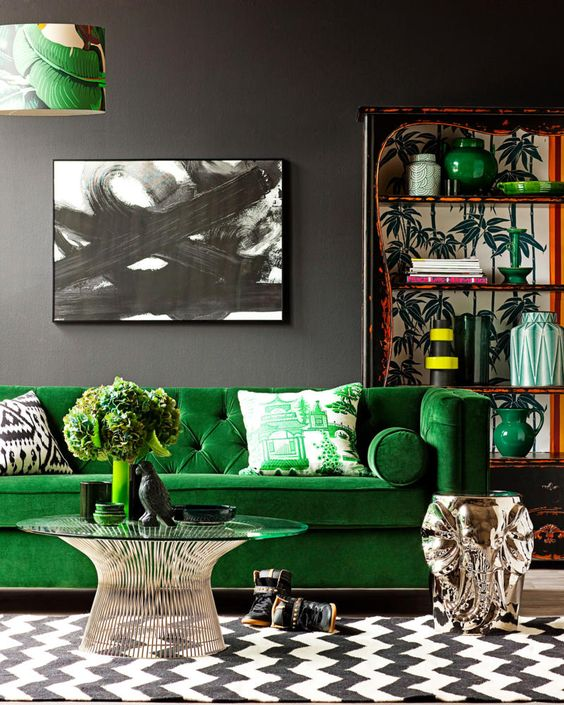 bold living room in grey, black and white with bright green splashes and red touches