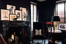 10 monochromatic black living room with leopard print touches