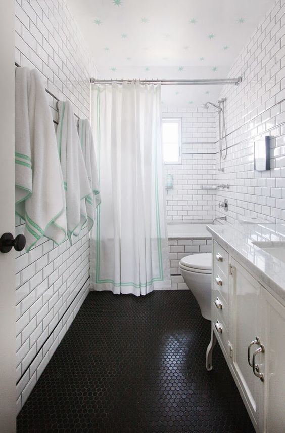 penny tile floors can create an eye-catching texture to spruce up even the  simplest