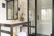 10 subway tiles on the sink wall and in the shower