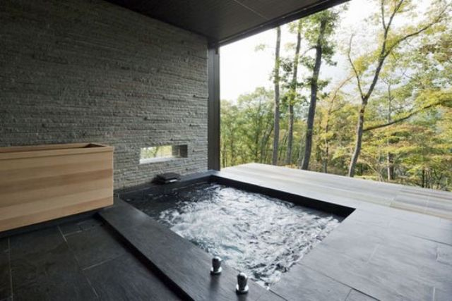 stone wall in a bathroom