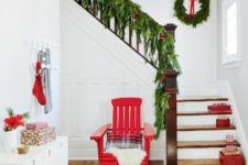 11 evergreen garland, red touches here and there