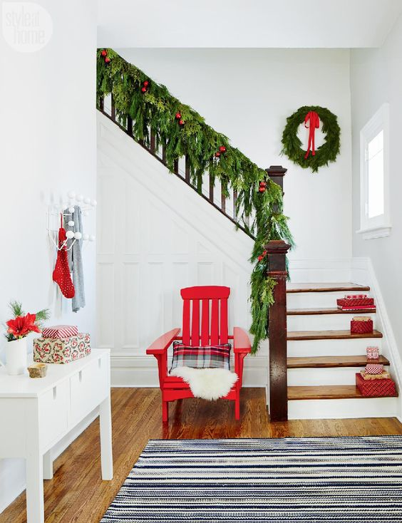 evergreen garland, red touches here and there