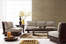 11 minimalist Zen furniture of dark wood and grey cushions