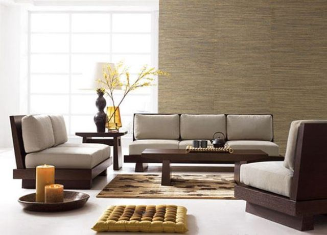 minimalist zen furniture of dark wood and grey cushions