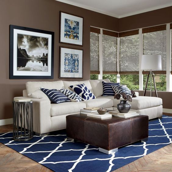 modern brown living room. modern brown and white living room with navy pillows a carpet 26 Cool Brown And Blue Living Room Designs  DigsDigs