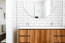11 white subway tiles in the sink area