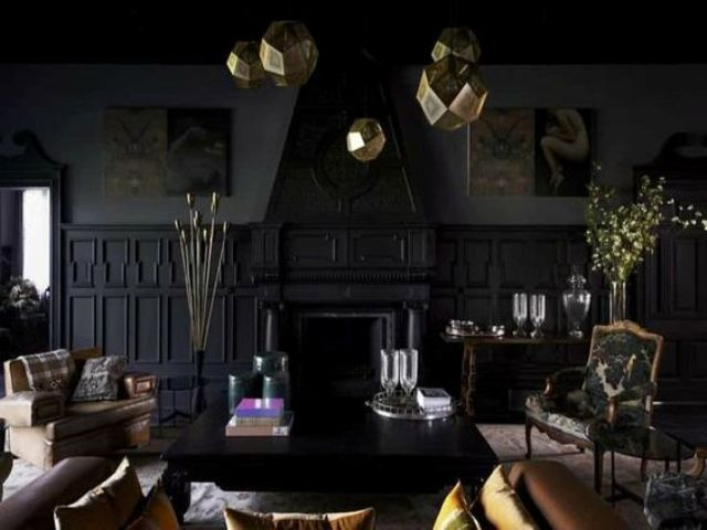 30 dark moody living room d cor ideas digsdigs for Gold and black living room ideas