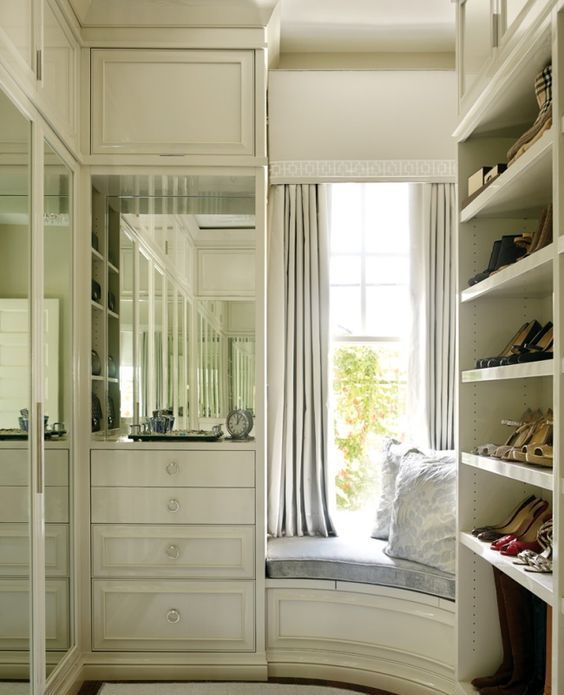 mirror doors of the wardrobes will help to visually enlarge the space reflecting the light