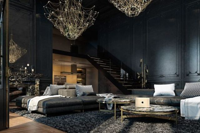 dark Gothic living room with unique gold chandeliers for acentuating