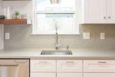 13 grey hax tiles fit this mid-century modern neutral kitchen perfectly