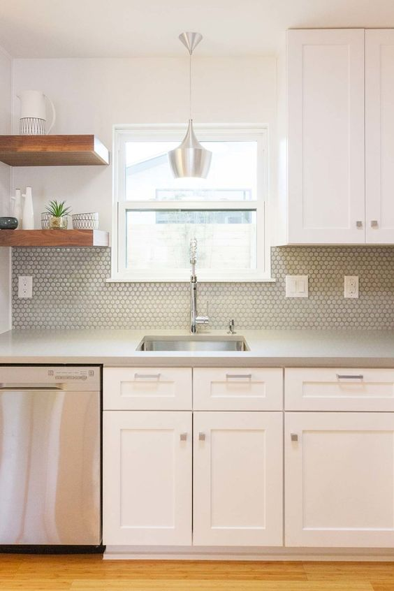 grey hax tiles fit this mid-century modern neutral kitchen perfectly