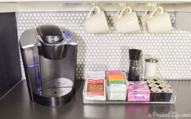 highlight your tea and coffee station with penny tiles