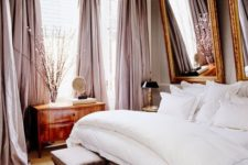 14 luxurious bedroom with pink curtains and white bedding